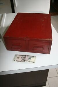 Vintage Cole Steel Metal Library Two Drawer File Index Card Catalog Cabinet