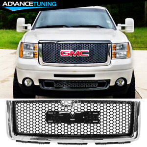 Fits 07 13 Gmc Sierra 1500 Front Upper Grill Grille Gloss Chrome