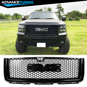 Fits 07 13 Gmc Sierra 1500 Front Upper Hood Grille Abs Gloss Black