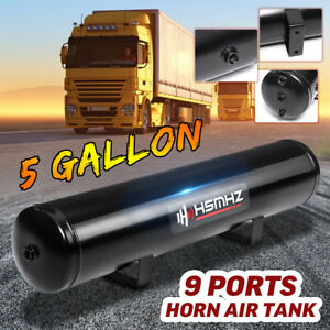 5 Gallon 9 Ports Horn Air Tank 250psi For Suspension Air Ride Bags Train Truck