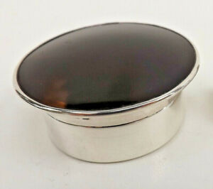 Vintage Silver Faux Tortoiseshell Trinket Box With Gilt Liner Chester 1922