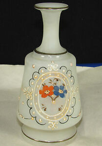 Bristol Glass Satin Barber Bottle Hair Tonic Enamel Paint Victorian Decanter
