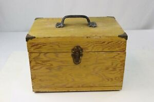 Vtg Antique Wooden Carpenters Tool Box Primitive Carrying Tote Caddy