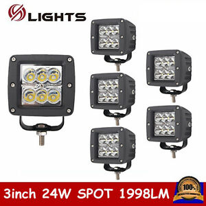6x 24w Square Led Work Light Spot Offroad Driving Ute 3x3 inch Truck Fog Bumper