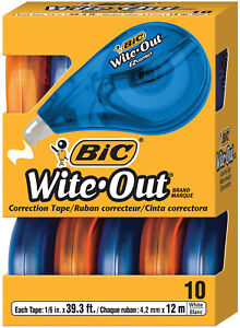 10 Pack Wite out Correction Tape Office Break Proof Mono White Out School Paper