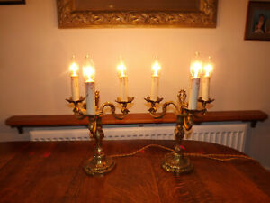 Vintage Pair Of French Rococo Style Ormolu Candelabra Three Branch Lamps