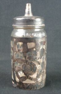 Mexico 925 Sterling Silver Overlay Glass Nestle Honey Bottle Jar W Lid