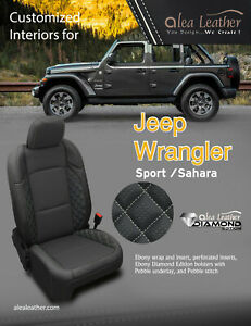 2018 2019 Jeep Wrangler Sport Sahara 4 Dr Alea Black Leather Seat Covers Diamond