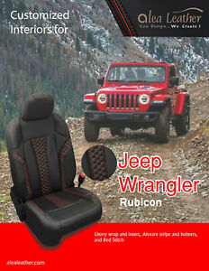 2018 2019 Jeep Wrangler Rubicon 4 Dr Alea Black Red Leather Seat Covers Alveare