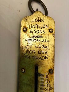 Antique John Chatillon Sons Brass Hanging Scale New York 50