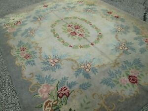 Old Room Size Country Style Hooked Carpet Rug With Victorian Floral Pattern