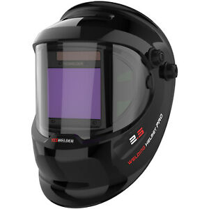 Large View True Color Auto Darkening Welding Helmet Mask Hood Weld Cut Grind