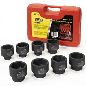 8pc Socket Set Deep Shallow Impact Wrench Sae Cr V 3 4 Inch Drive With Case