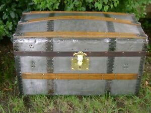 1870s Antique Zinc Clad Trunk Dome Top Steamer Trunk Brass Lock Wood Chest
