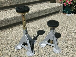 Set Of 2 Esco 10499 Low Profile Jack Stand Flat Top Rubber Cushion Post