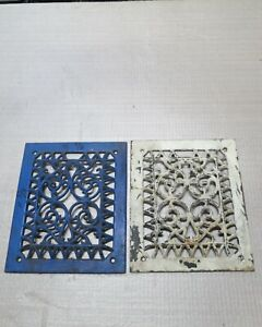 2 Cast Iron Grate Vent Covers Ornate Victorian Wall Raised Matching Pair
