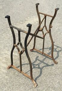 Old Vtg Antique Industrial Cast Iron Metal Table Base Sewing Machine Leg Stand