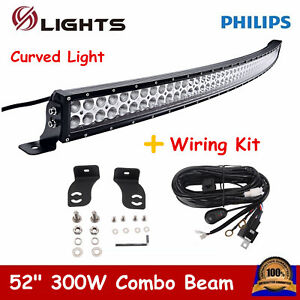 52inch 300w Curved Led Light Bar Combo Offroad 4wd Boa Atv Utv Truck Wiring Kit