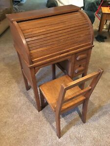 Antique Childrens Oak Rolltop Desk With Chair