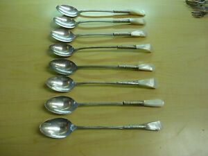 8 Antique Victorian Mother Of Pearl Handle Sterling Bolster Ice Tea Spoons Euc