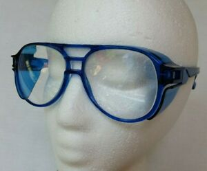 Vintage Blue Aerosite Z87 A o Safety Glasses 5 3 4 Side Shields Patent Pending