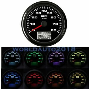 8 Colors Led 85mm Marine Tachometer Gauge Boat Tacho Diesel Engine Meter 8000rpm
