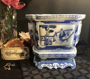Porcelain Oriental Planter Blue And White Hand Painted Chinoiserie With Stand