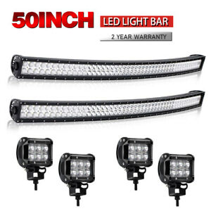 2x Curved 50 Led Light Bar 4x Work Lights Pods For Ford F Series Chevy Ram