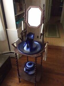 Vintage Wash Basin Stand With Bowl Pitcher And Chamber Pot
