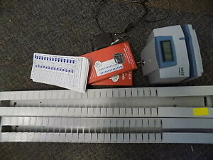Pyramid 3500 Time Clock Document Stamp Gray blue Cards And 2 Card Holders