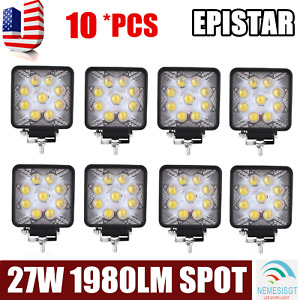 8x 4inch 27w Spot Round Led Work Light Offroad Driving Atv Truck 5d Optical Lamp