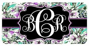 Personalized Monogrammed License Plate Auto Car Tag Floral Violet Turquoise