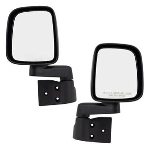 Pair Mirrors For 03 06 Jeep Wrangler Manual Textured Set 55395061ad 55395060ad
