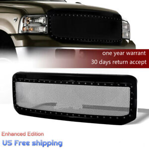 For Ford F250 F350 2005 07 Super Duty Gloss Steel Mesh Rivet Grille