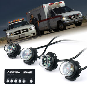 Xprite White Covert 4 Series Hideaway Led Strobe Lights Vehicle Emergency Beacon