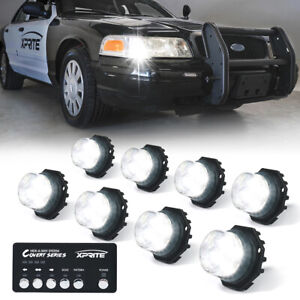 Xprite Off road 8 Pack Hide a way Led Strobe Lights Car Emergency Beacon White