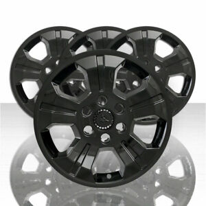 18 Black Wheel Skin Hub Caps Alloy Rim Full Covers For 2014 2019 Silverado 1500