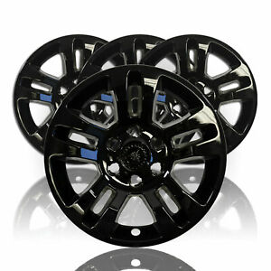 4 Gloss Black 18 Wheel Skins Hub Caps Aluminum Rim Covers For 14 19 Silverado T