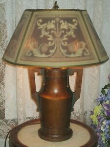 Antique Arts And Craft Mission Electric Table Lamp Rembrandt Shade Wood Base