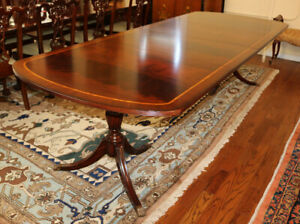 Incredible Flame Mahogany Dining Table W 2 Leaves 120 Inches X 46 Regency Style