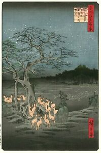 Hiroshige Japanese Large Woodblock Print Fox Fires At Hackberry Tree In Oji