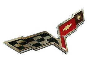 1x Abs Corvette Cross Crossed Flags Chevy 3d Emblem Logo Badge Decal Chrome Red