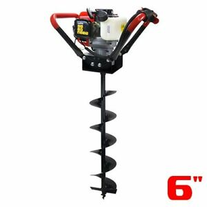55cc 2 stroke Gas V type Post Hole Digger Auger Digger W 6 Digging Bit Set