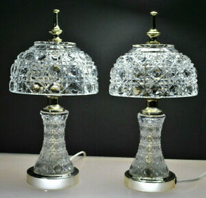Beautiful Vintage Pair Victorian Clear Crystal Hobnail Desk Table Lamps