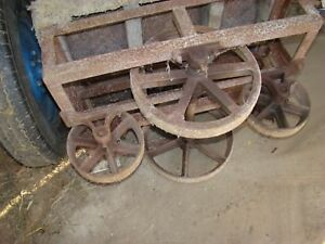 Vintage Factory Cart Steel cast Iron Wheels