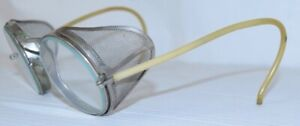 Vintage Goggles American Optical Ao Leather Safety Side Shields Aviator Round