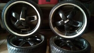 22 inch 5 Spoke verde Wheels Skylon Tire And Rim Set black With Machine Finish