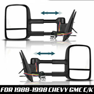 Tow Mirrors For 99 07 Ford F 250 Super Duty Power Heated Smoke Turn Signal Lamp