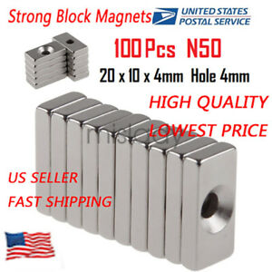 Wholesale Super Strong Block Magnets 20x10x4mm Hole 4mm Rare Earth Neodymium N52