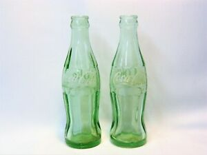 2 OLD COCA-COLA EMBOSSED GREEN GLASS SODA BOTTLES - COLUMBUS, OH